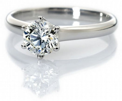 30 Pointer Classic 6 Prong Solitaire Ring made in Platinum SKU 0012 in India