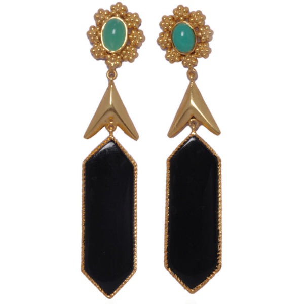 925 Silver Earrings in India - Designer Sterling Silver Earrings With Crisco & Black Onyx With Gold Plating JL AG 1005