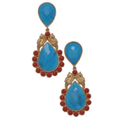 925 Silver Earrings in India - Designer Sterling Silver Earrings With Red Coral & Turquoise Drops JL AG 1006