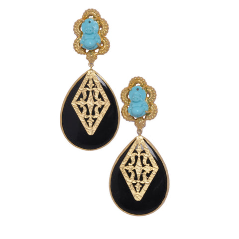 925 Silver Earrings - Laughing Buddha Sterling Silver Earrings With Turquoise & Black Onyx With Gold Plating JL AG 1004