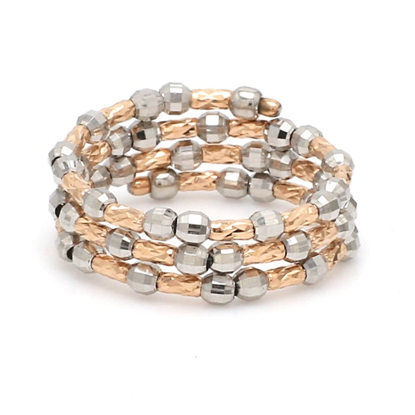 Dazzling Shiny 3-Row Flexible Platinum & Rose Gold Ring with Diamond Cut Balls JL PT 718