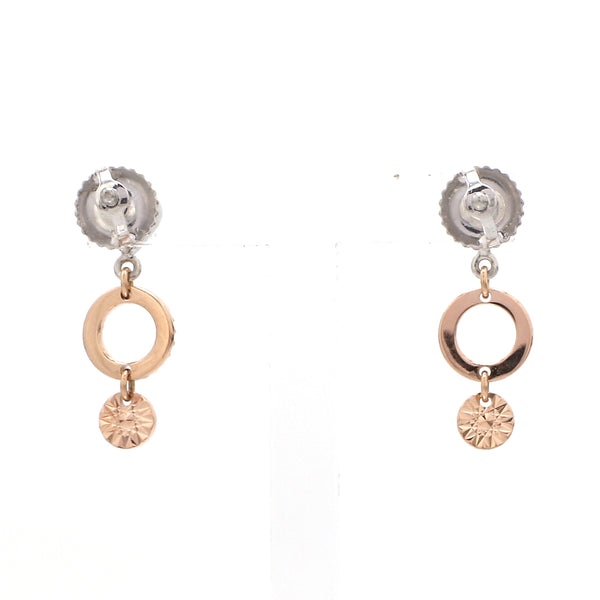 Designer Plain Platinum & Rose Gold Earrings JL PT E 213