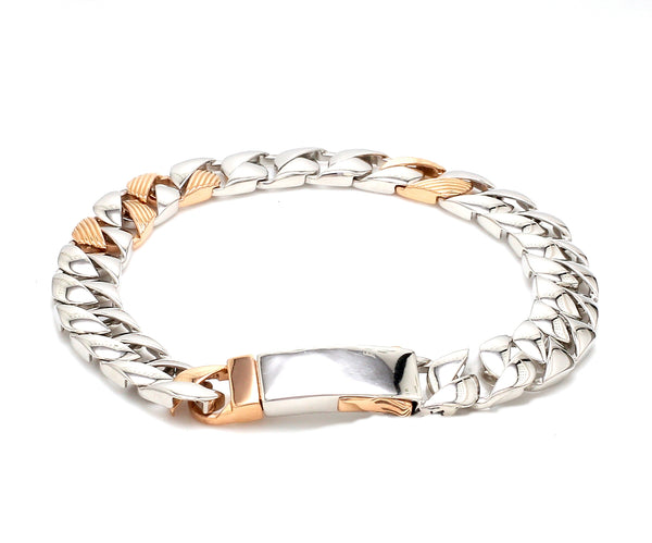 Designer Platinum & Rose Gold Bracelet for Men JL PTB 752