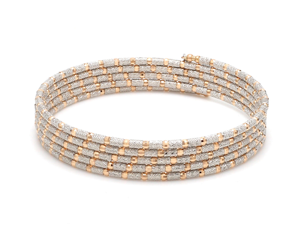 Unique 5-Row Japanese Platinum & Rose Gold Bracelet for Women JL PTB 727