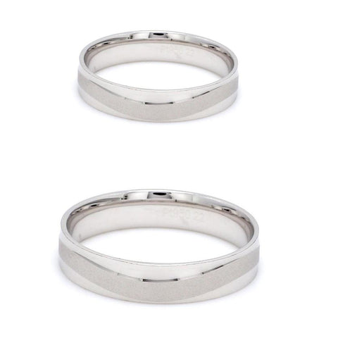 Japanese Plain Platinum Couple Rings with a Matte Finish Wave JL PT 610
