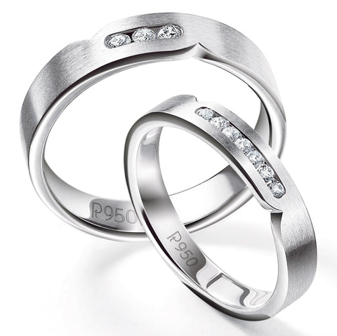 Serendipity Platinum Love Bands with Diamonds JL PT 527