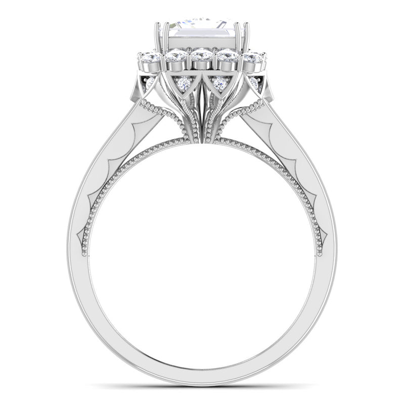 Circle View of 30 Pointer Platinum Halo Princes Cut Diamond Solitaire Engagement Ring JL PT 6604