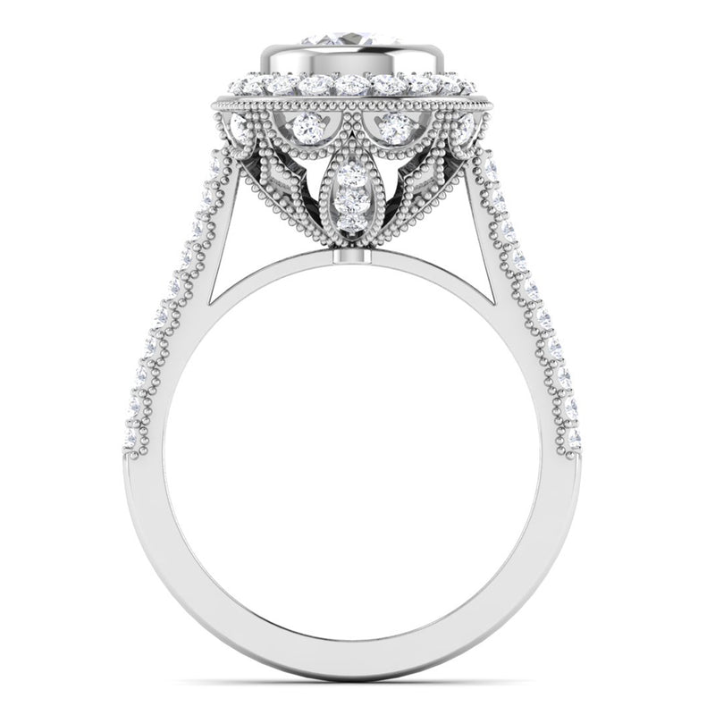 Circle View of 30 Pointer Platinum Shank Halo Diamond Solitaire Engagement Ring JL PT 6635