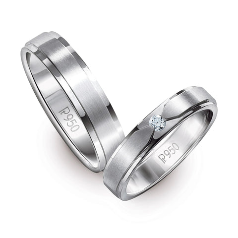 Elegant Platinum Love Bands with Matte Finish JL PT 529