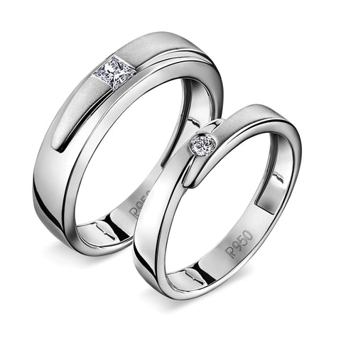 Conjoining Platinum Rings for Couples with Single Diamonds JL PT 599
