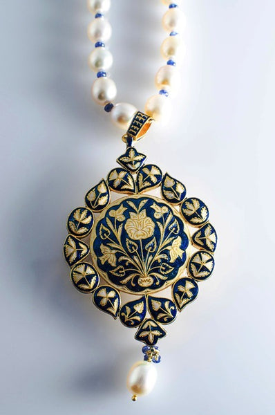 Cream and Blue Enamel Diamond Polki Pendant set by Suranas Jewelove - Suranas Jewelove  - 2