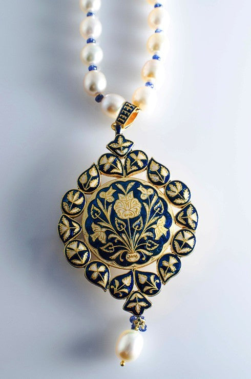 Buy art nouveau kundan meena polki jewelry online in india jewelove cream and blue enamel diamond polki pendant set by suranas jewelove suranas jewelove 2 aloadofball Images