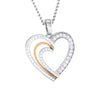 Platinum & Rose Gold Hearts & Diamonds Pendant JL PT P 8063