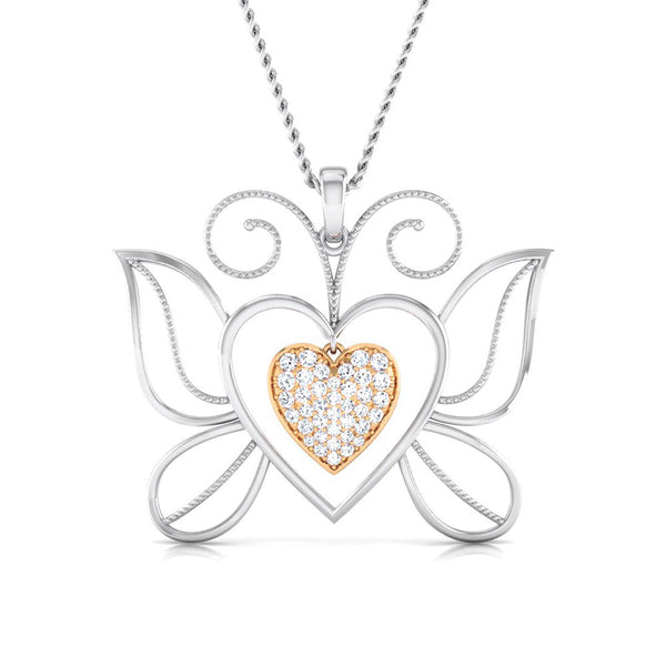 Butterfly Heart Platinum Pendant with Rose Gold & Diamonds JL PT P 8076