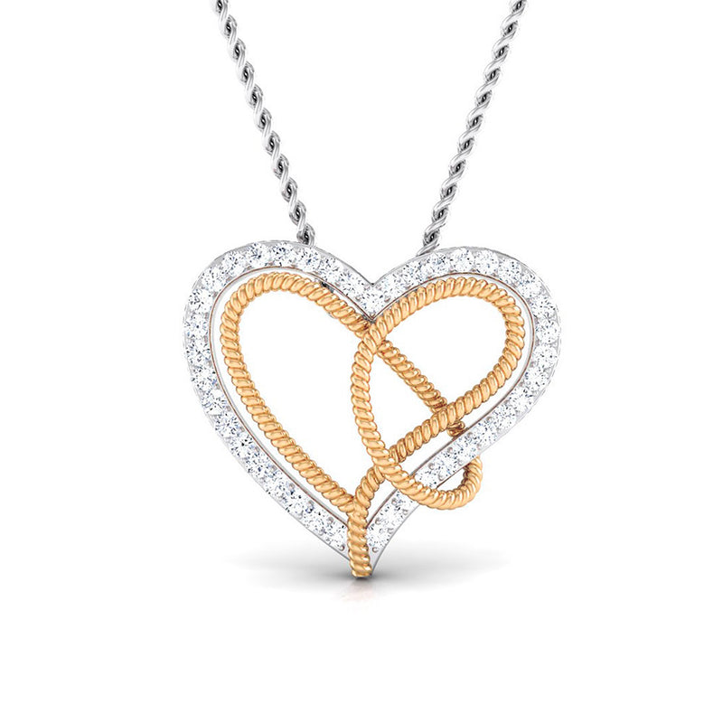 Platinum & Gold Double Heart Pendant with Diamonds JL PT P 8084