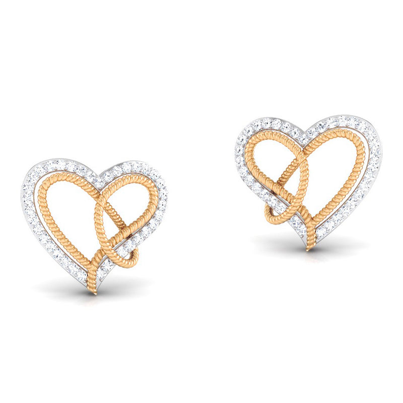 Platinum & Gold Double Heart Earrings with Diamonds JL PT P 8084