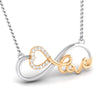 Designer Infinity Love Heart Platinum Pendant with Gold & Diamonds JL PT P 8086