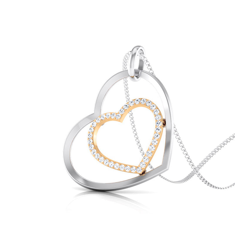 Platinum Pendant with a Diamond Studded Rose Gold Heart JL PT P 8107