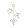 Designer Crown & Heart Platinum & Rose Gold Pendant with Diamonds JL PT P 8216