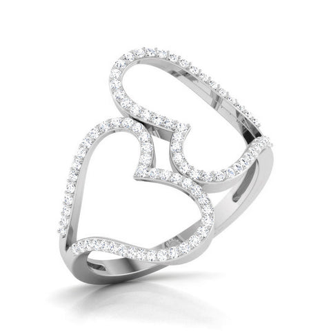 Big Hearts Platinum Ring with Diamonds for Women JL PT 564 Perspective View. How this platinum ring looks overall.