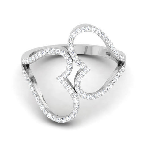 Big Hearts Platinum Ring with Diamonds for Women JL PT 564 Table View. How this platinum ring looks from the front