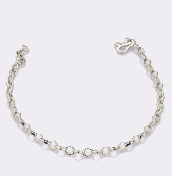 Platinum Bracelet with Square Links JL PTB 689