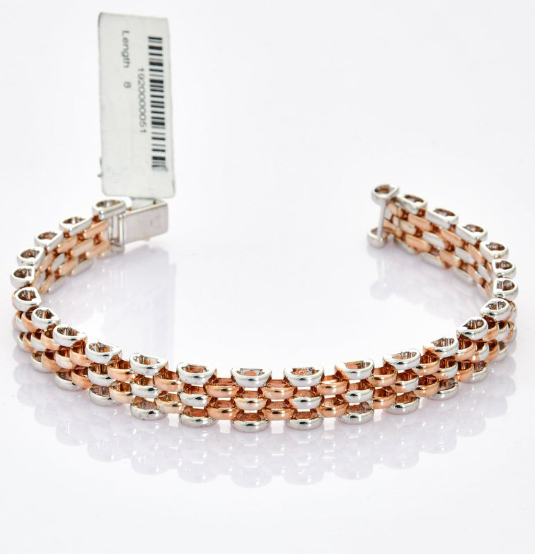 Broad Platinum & Rose Gold Bracelet for Men JL PTB 708
