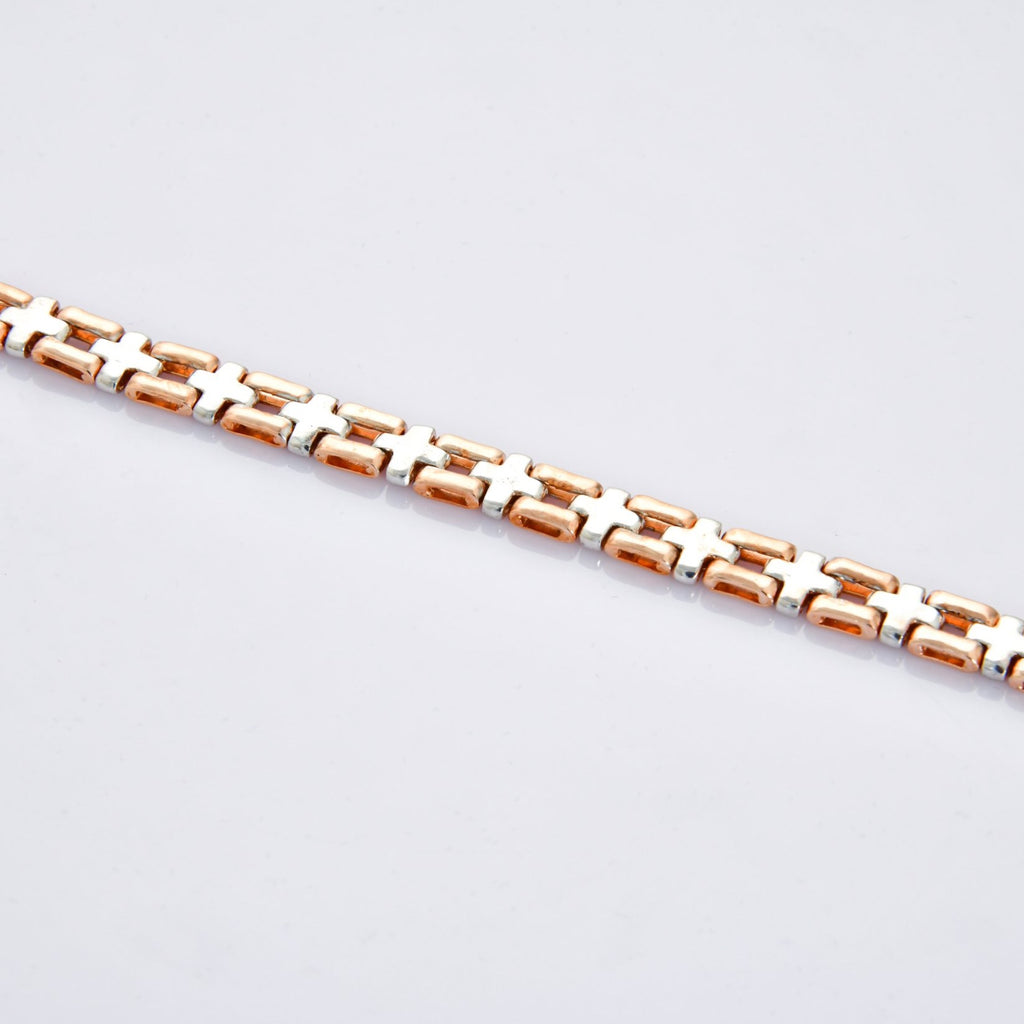 Cross Roads Platinum & Rose Gold Fusion Bracelet JL PTB 707