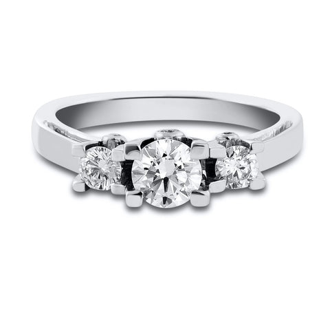 Beautiful 3 Diamond Platinum Solitaire Ring in Raised Setting with Elegant Side Diamonds JL PT 561. Ideal Platinum Engagement Ring for Women. Table View