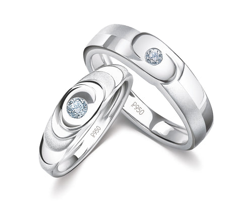 Designer Platinum Love Bands with Single Diamonds JL PT 926