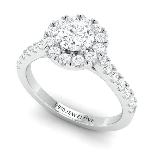 40-Pointer Platinum Solitaire Engagement Ring with Diamond Halo & Shank JL PT 671