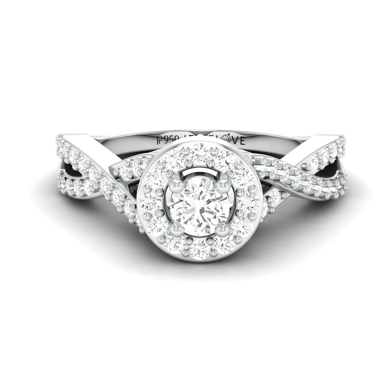 Ready to Ship - Ring Size 14, Designer Platinum Solitaire Ring with Halo & Designer Shank JL PT 677