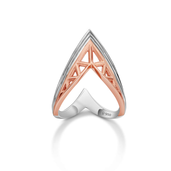 Ready to Ship - Ring Size 12, Designer V -shape Platinum & Rose Gold Cocktail Ring for Women JL PT 967