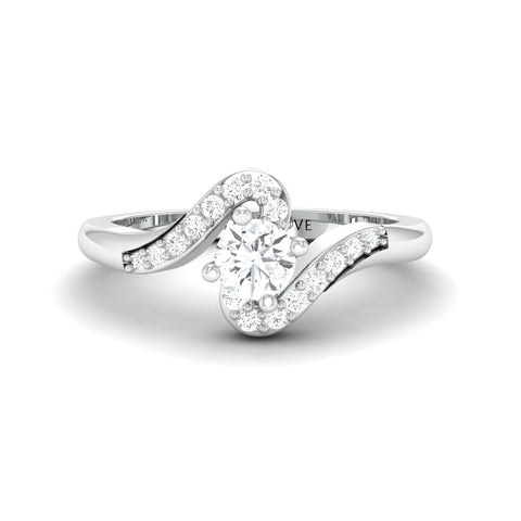 Ready to Ship - Size 14, Designer Solitaire Platinum Ring for Women JL PT 583