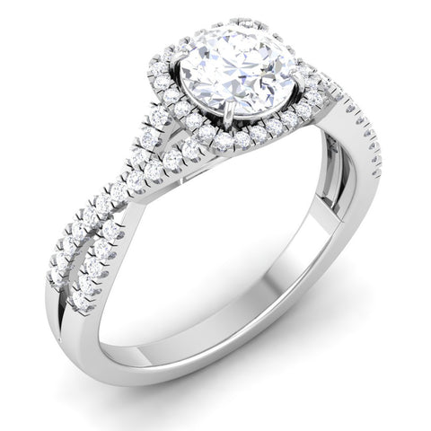 Customised Designer 30 Pointer Halo Solitaire Platinum Engagement Ring JL PT 499