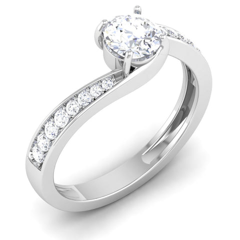 Designer Curvy Platinum Solitaire Engagement Ring for Women JL PT 480