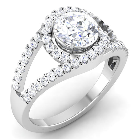 Designer Curvy Platinum Solitaire Engagement Ring for Women JL PT 516