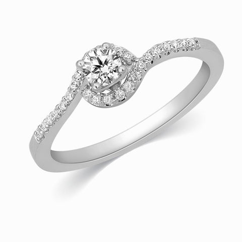 20 Pointer Designer Curvy Solitaire Platinum Ring for Women JL PT 332