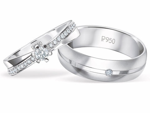 Designer Diamond Platinum Couple Rings JL PT 913
