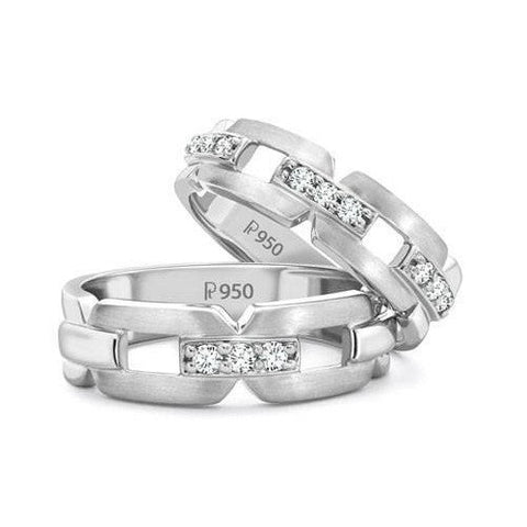 Designer Platinum Love Bands with Diamonds JL PT 426