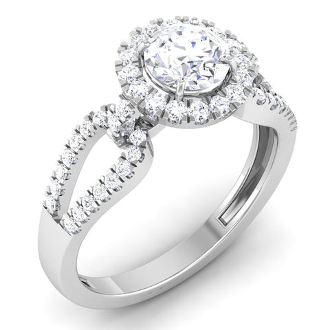 Designer Halo Solitaire Engagement Ring Mounting in Platinum JL PT 514-M