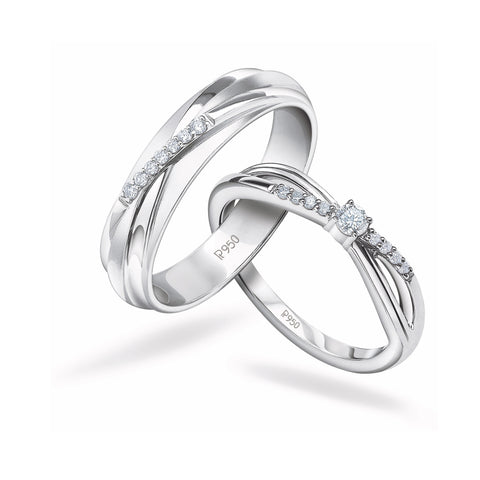 Designer Platinum Couple Rings with Diamonds JL PT 912