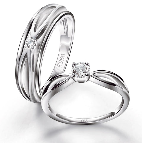 Designer Platinum Couple Rings with Single Diamonds JL PT 525