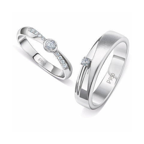 Designer Platinum Diamond Couple Rings JL PT 915