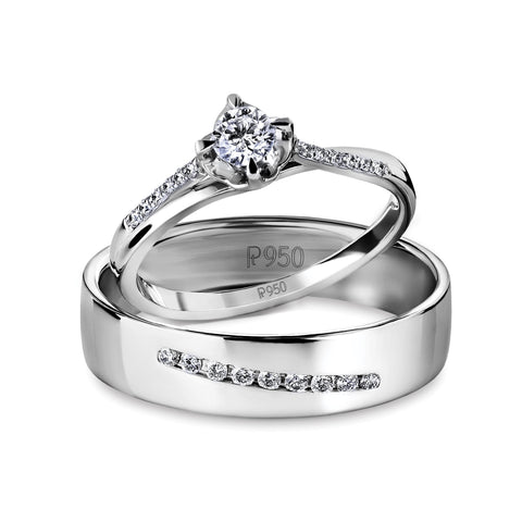 Designer Platinum Love Bands with Diamonds JL PT 597