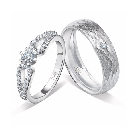 Designer Platinum Couple Rings with Diamonds JL PT 921