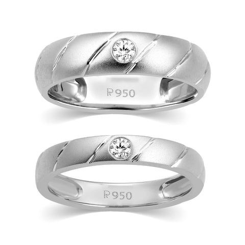 Designer Platinum Couple Rings with Single Diamonds JL PT 338