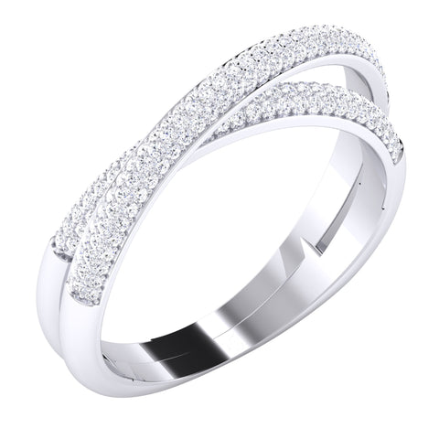 Designer Two Rings Conjoining Platinum Ring with Diamonds for Women JL PT 489