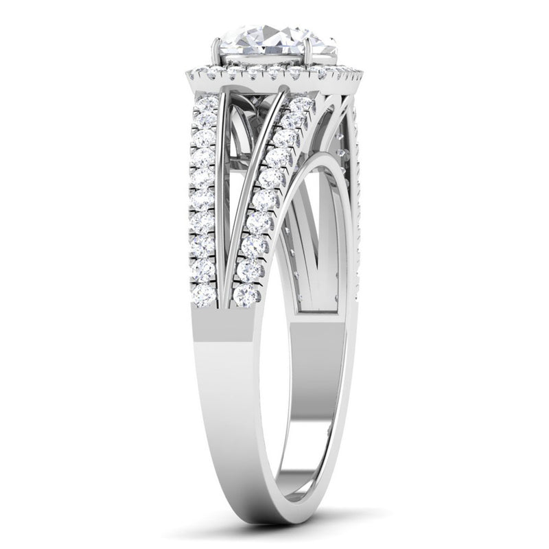 Double Shank with Diamonds - Platinum Solitaire Engagement Ring JL PT 513