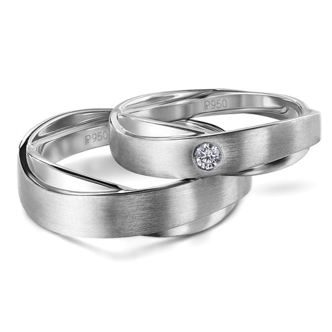 Earth & Moon Celestial Platinum Rings for Couple JL PT 596